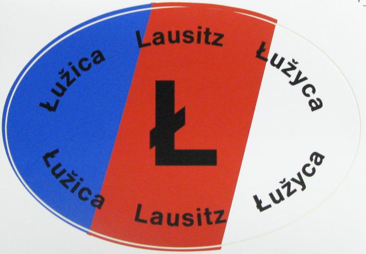 Sticker, sorbian flag, oval