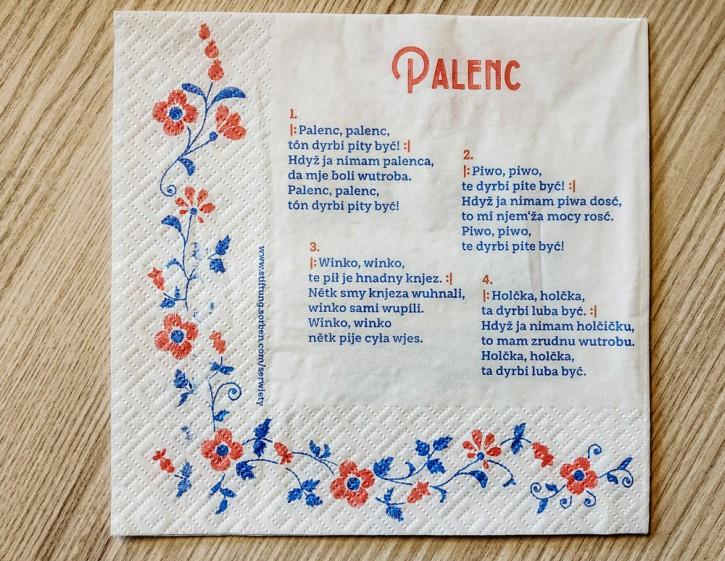 Papier-Servietten Set: Palenc (Schnaps) obersorbisch